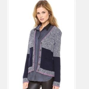 Claire Colorblock Wool-Alpaca Cardigan